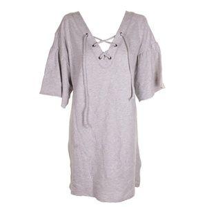 Sanctuary Light Grey Heather Cotton Lace-Up Dress